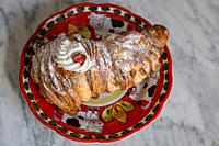 lobster tail, a typical dessert of modern Neapolitan pastry.