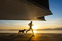 Santander, Cantabria, Spain. Jogger with dog at sunrise under Centro Botín art gallery, designed by Pritzker Prize-winner architect Renzo Piano.