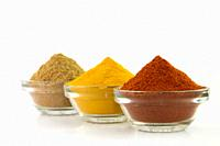 Spice Powder : Chili, Turmeric & Coriander in Bowl isolated on White background.