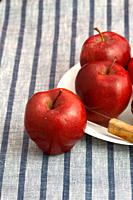 Delicious Apples in plate with knife on striped tablecloth.