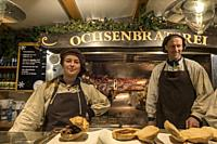 Ochesenbraterei. Grilled veal sandwiches for sale at Christmas market.