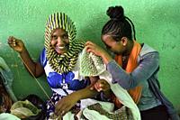 Ethiopia, Tigray, Aksum, Embroidery factory.