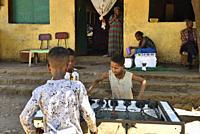 Ethiopia, Tigray, Adi Arkay, Boys playing Babyfoot.