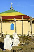 Ethiopia, Amahara region, Amba Georgyis, Morning mass, Christian devotees in prayer.