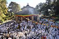 Ethiopia, Gonder, World Heritage Site, Debre Berhan Selassie church, Holy Trinity mass.