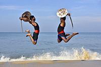 India, Kerala, Cochin surroundings, Kalarippayat performance.