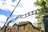 Arbeit macht frei Auschwitz Birkenau Concentration Camp OŠ›wiÄ. cim Museum Southern Poland Europe EU UNESCO.