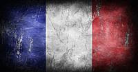 Flag of France with grunge texture background 3D illustration.
