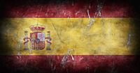 Flag of Spain with grunge texture background 3D illustration.