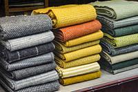Stockholm, Sweden Blankets for sale in a window display.