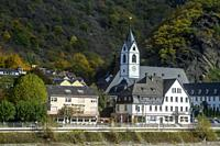 Middle Rhine scenic cruise- Riverside churches and houses, Kamp-Bornhofen, Rhineland-Palatinate, Germany.