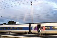 Rainbow, Train station, Le Croisic, Loire-Atlantique, Pays de la Loire, France.
