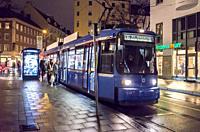 Tram, Reichenbachplaz, Munich, Bavaria, Germany.