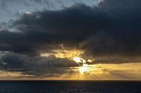 Sunrise over the Atlantic ocean from cruise ship.