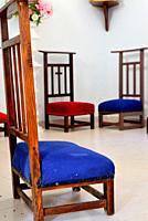 Chairs into the church of Santiago, Mouruas, San Xoan de Rio, Orense, Spain.