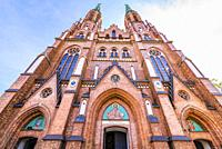 St. Florian's Cathedral, or Cathedral of St. Michael the Archangel and St. Florian the Martyr. The 75-meter towers dominate eastern Warsaw's Praga dis...