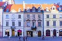 The lively and central Krakowskie Przedmiescie street, next to Castle square. Warsaw, Poland, Europe.