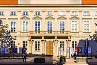 """Tyszkiewicz Palace, also known as Tyszkiewiczâ. """"Potocki Palace, is a rebuilt palace at 32 Krakowskie Przedmiescie in Warsaw, Poland. It is one of the..."""