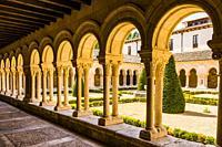 Old cloister or 'Las Claustrillas'. The Abbey of Santa María la Real de Las Huelgas is a monastery of Cistercian nuns. Burgos, Castile and Leon, Spain...