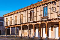 Detail. Plaza Mayor of Arévalo, typical Castilian porticoed square. Arévalo, Avila, Castilla y León, Spain, Europe.