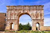 The Roman arch of Medinaceli is a Roman Triumphal arch. It is constructed in stone using a technique called Opus quadratum. It was declared Bien de In...