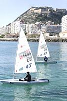Alicante, Spain. December 1, 2019. Sailing Championship in winter in the city of Alicante, Spain.