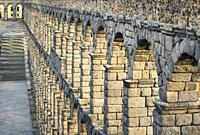 Detail of the Roman aqueduct. UNESCO World Heritage Site. Segovia. Castile and Leon. Spain.