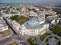 Aerial view, Odessa National Academic Theatre of Opera and Ballet. Odessa, Ukraine, Eastern Europe.