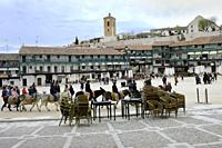Plaza Mayor of Chinchón, medieval town in the Community of Madrid.