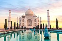 Taj Mahal in India without people, Agra.