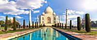 Taj Mahal in India, panoramic view, Agra, Uttar Pradesh.