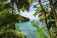 View from Bom Bom Resort on Principe Island of bay, Sao Tome & Principe.