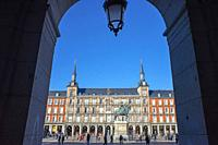 Arch of a Building, Plaza Mayor, Madrid, Spain.