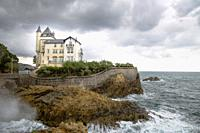 Basque coast in Biarritz France Cote des Vasque Villa Belza palace. The Villa Belza is a neo-Medieval mansion and was built on a cliff between 1880 an...