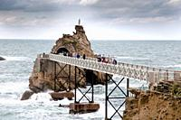 Basque coast in Biarritz France The Rock of the Virgin Mary is an iconic Biarritz landmark.