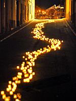 Santa Agata's Day 2020, light and fire street performance at Prats de Lluçanès village, in remembrance of Catalan political situation. Lluçanès region...
