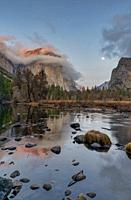 Warm Sunset Reflection on the Merced River Yosemite National Park CA USA World Location.
