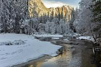Snow along the Merced River Yosemite NP CA USA World Location.