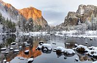 Winter Glow at Sunset on El Capitan Yosemite National Park CA USA World Location.