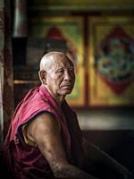 Monk, Deskit Monastery or Diskit Gompa, Hunder, Nubra Valley, Ladakh, Indian Himalayas, Jammu and Kashmir, northern India.