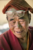 Nubra Valley, Ladakh. Monk portrait in Diskit monastery.
