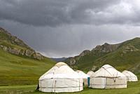 Yurts in Tash Rabat valley, Naryn province, Kyrgyzstan.