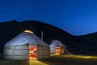 Naryn region, Kyrgyzstan. Silk Road. Night in the caravanserai camp of Tash Rabat.