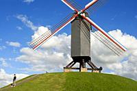 Bruges, Belgium. Bonne Chieremolen windmill on the Kruisvest park, West Flanders, Belgium.