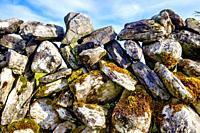 Close up of a an irish dry stone wall.