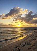 Pageant Beach at sunset, George Town, Grand Cayman, Cayman Islands.