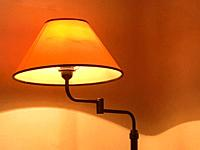 Lit up lamp.