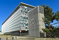 Headquarters of the World Health Organisation, WHO, Geneva, Switzerland.