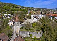 Carrouge Castle, Chateau de Carrouge, with medieval watchtower, district Le Bourg, Moudon, canton of Vaud, Switzerland.