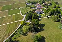 Hamlet Vincy with vineyards and castle Vincy with park, Vincy near Gilly, Vaud, Switzerland.